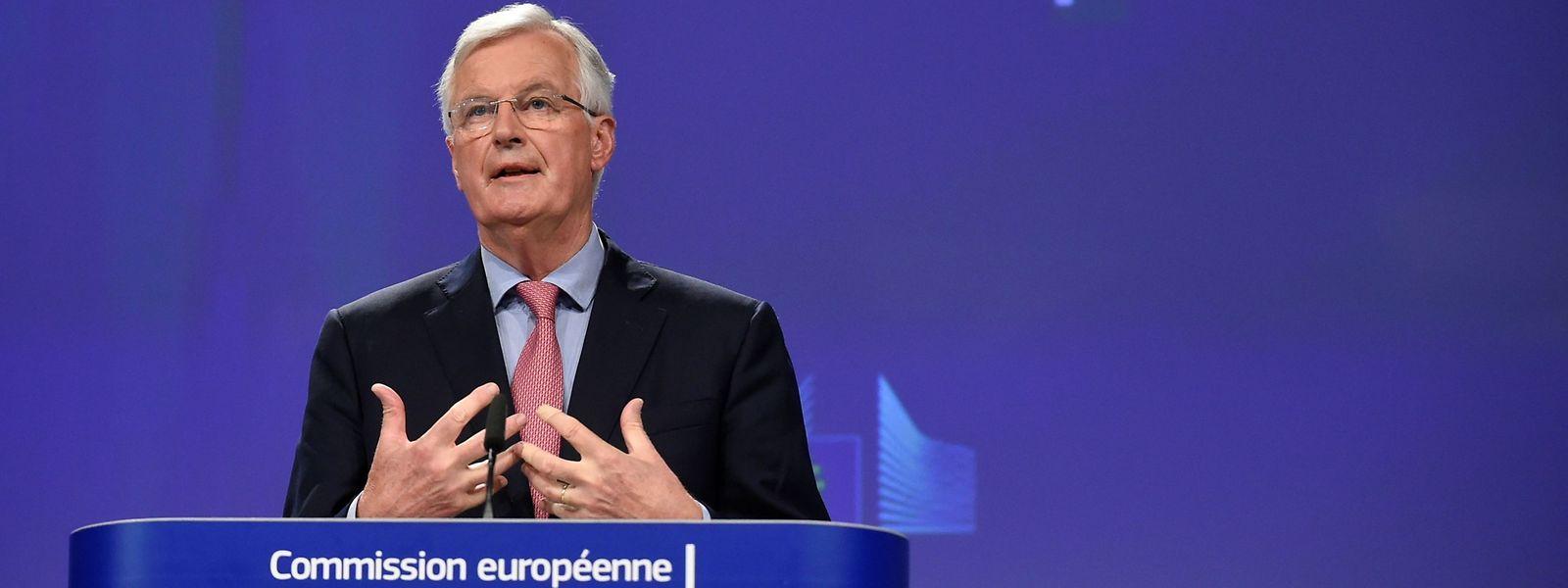 Le négociateur en chef de l'Union européenne pour le Brexit, Michel Barnier, parle lors d'une conférence de presse après le cycle de négociations de cette semaine au siège de l'UE à Bruxelles le 8 juin 2018.