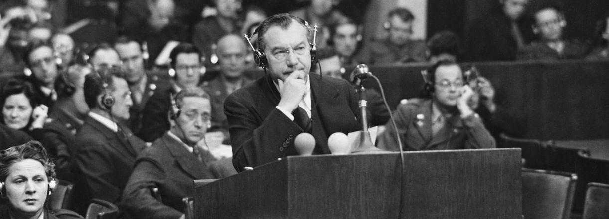 (Original Caption) Nurnberg, Germany: Nurnberg Trials, Chief U.S. Prosecutor Robert H. Jackson, forground. Undated