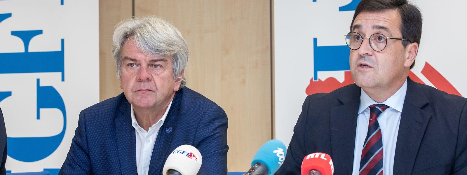 CGFP-Präsident Romain Wolff (l.) und CGFP-Generalsekretär Steve Heiliger erwägen juristische Schritte gegen die Regierung, weil sie nach Ansicht der Gewerkschafter die sektorielle Verhandlungsfreiheit der CGFP-Fachverbände nicht respektiert.