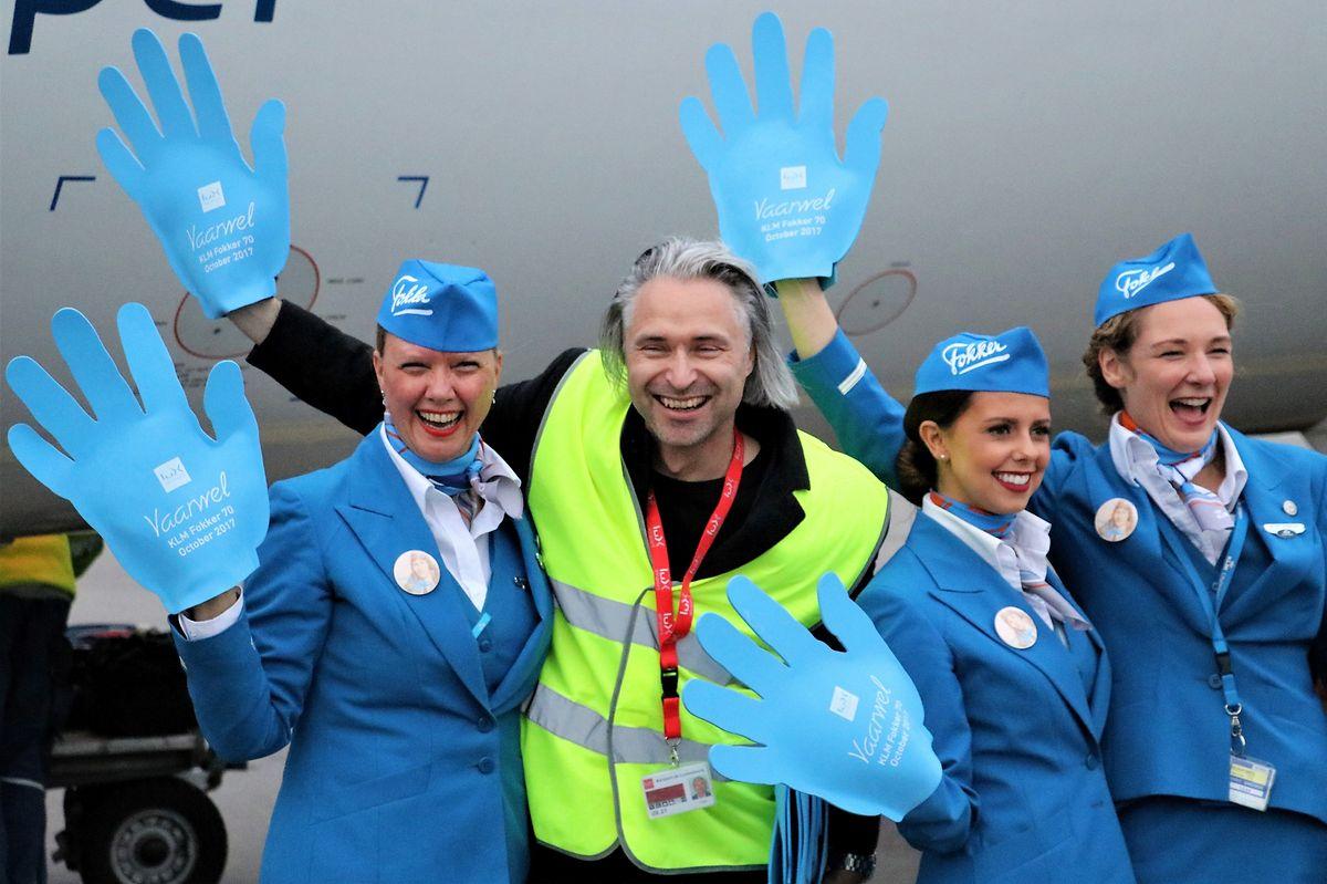 René Steinhaus von Luxairport organisierte die kleine Feier zum Abschied der Fokker 70.