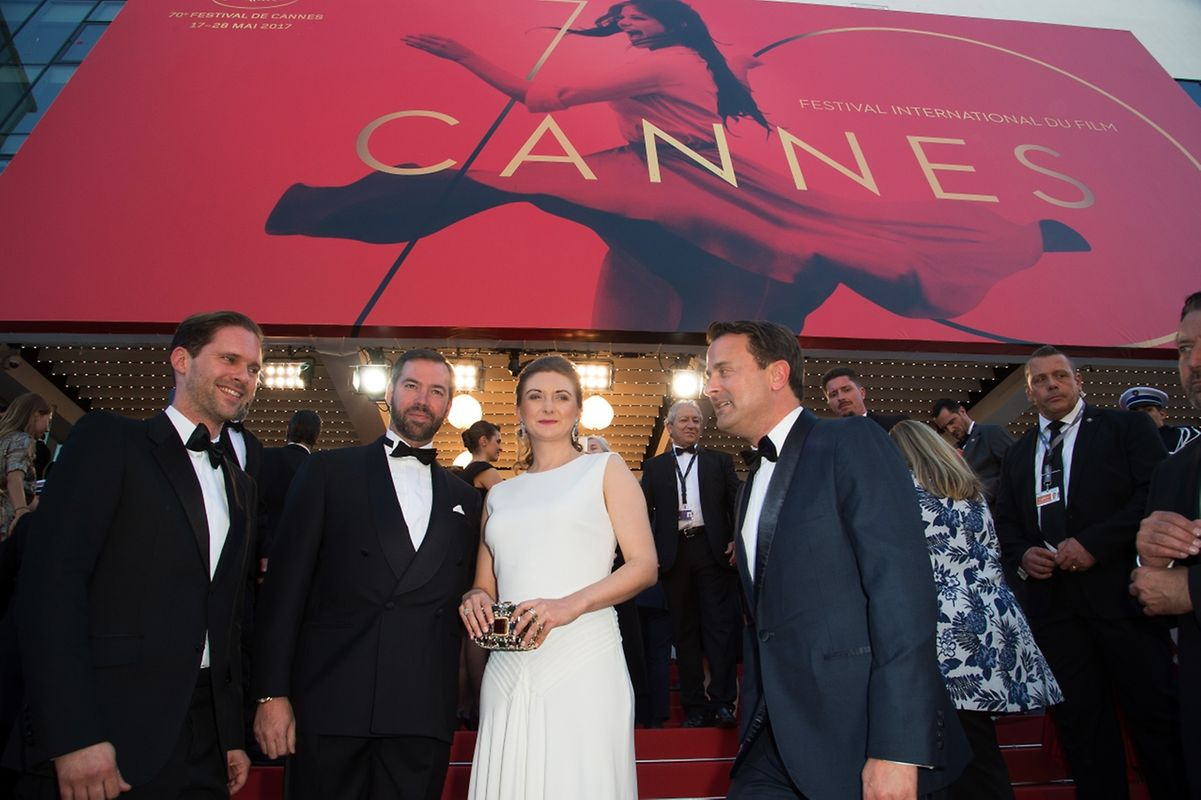 """Their Royal Highnesses, Prince Guillaume, Grand Duke of Luxembourg, Princess Stephanie, Grand Duke of Luxembourg, Prime Minister of Luxembourg, Xavier Bettel and Gauthier Destiny attend at the opening ceremony for the screening of the film """"Les fantomes d'Ismael"""" (Ismael's Ghosts) out of competition at the 70th Cannes Film Festival of Cannes on May 16, 2017 in Cannes, France."""