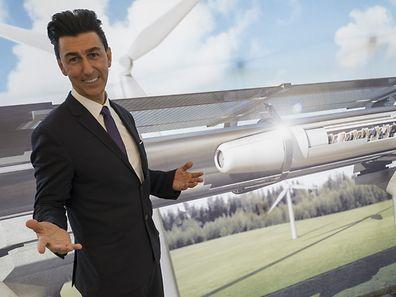 Bibop Gresta, de Hyperloop Transportation Technologies (HTT), a présenté son projet à Berlin (Allemagne).