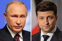 ARCHIV - 08.07.2019, Berlin: KOMBO - Wladimir Putin (l), Staatspräsident von Russland, und Wolodymyr Selenskyj, Staatspräsident der Ukraine. (zu dpa «Putin und Selenskyj sprechen über Ukraine-Konflikt») Foto: Lahodynskyj/Lovetsky/The Canadian Press/AP/dpa +++ dpa-Bildfunk +++