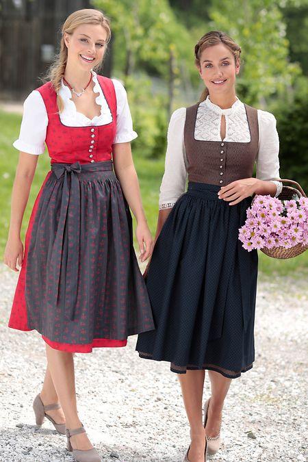 Gedeckte Farben und längere Kleider: Das sind die Trends für Dirndl.