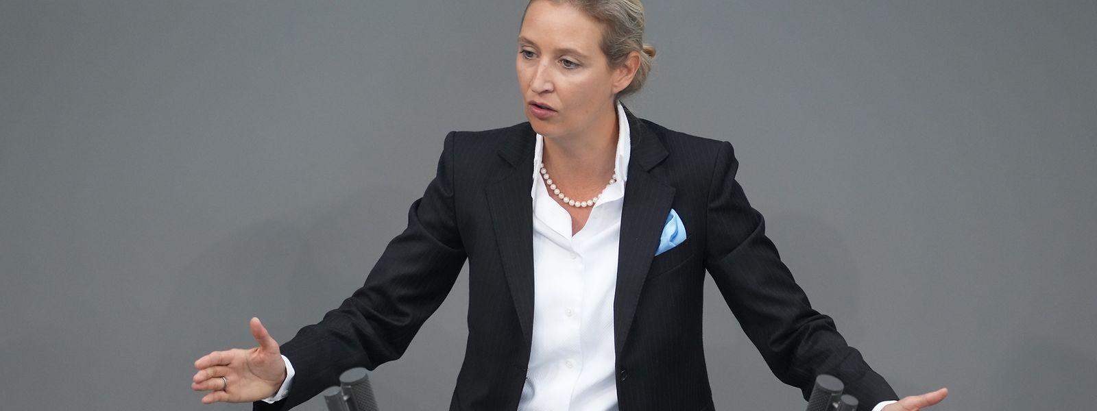 Alice Weidel, Fraktionsvorsitzende der AfD, bei der voraussichtlich letzten Bundestagsdebatte vor der Wahl.