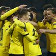 Football Soccer - Borussia Dortmund v Tottenham Hotspur - UEFA Europa League Round of 16 First Leg - Signal Iduna Park, Dortmund, Germany - 10/3/16 Marco Reus celebrates with team mates after scoring the third goal for Borussia Dortmund Reuters / Wolfgang Rattay Livepic EDITORIAL USE ONLY.