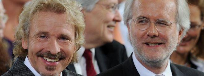 Auslaufmodelle: Die TV-Moderatoren Thomas Gottschalk (l) und Harald Schmidt.