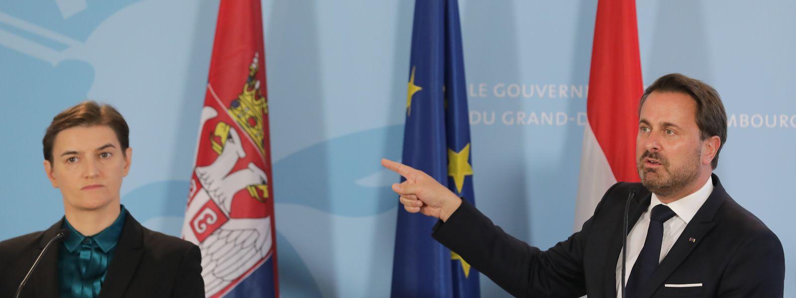 Seit 2012 ist Serbien Beitrittskandidat der EU. Am Montag unterstrichen sowohl die serbische Premierministerin Ana Brnabić als auch Xavier Bettel, dass die Zukunft des Landes in der EU liegt.