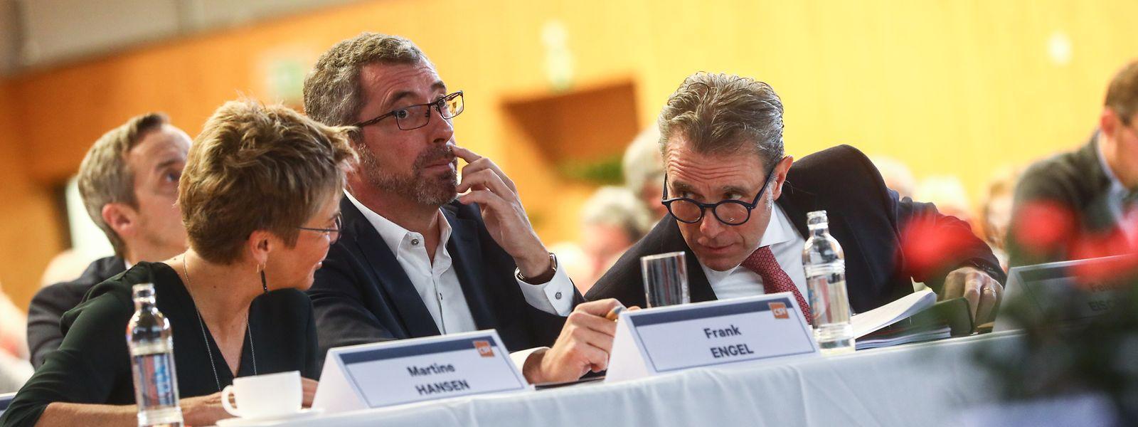 Fraktionspräsidentin Martine Hansen, Parteipräsident Frank Engel und Generalsekretär Felix Eischen am Samstag beim CSV-Themenkongress in Rodange.