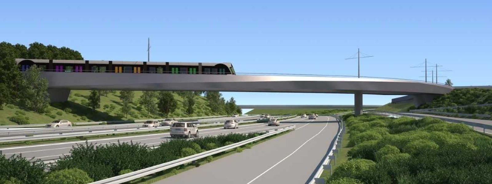 Un des chantiers indispensables pour l'arrivée du tram à l'aéroport national sera la construction de ce pont au-dessus de l'A1.