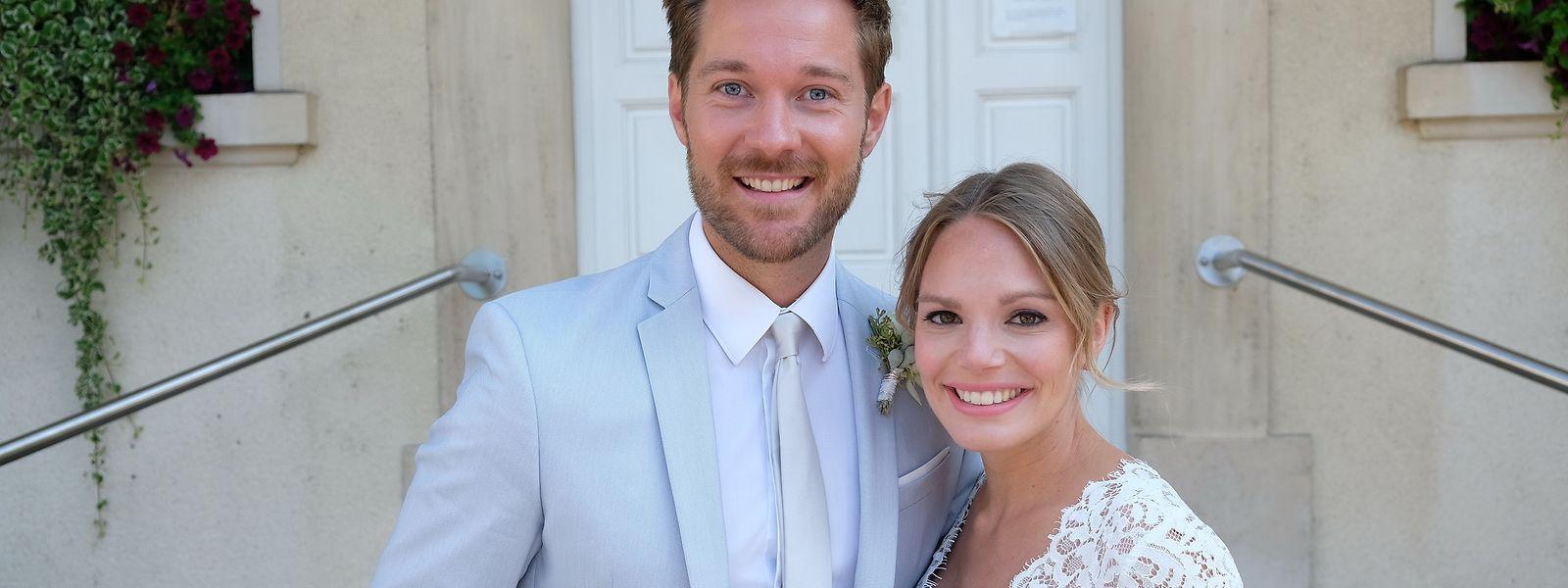 Strahlen vor Glück: Tommy Schlesser und Jill Morbach