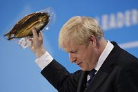 TOPSHOT - Conservative MP and leadership contender Boris Johnson holds up kipper fish in plastic packaging as he speaks at the final Conservative Party leadership election hustings in London, on July 17, 2019. - The battle to become Britain's next prime minister enters the home straight on Wednesday with both candidates hardening their positions on Brexit, putting the future government on a collision course with Brussels. (Photo by Tolga AKMEN / AFP)