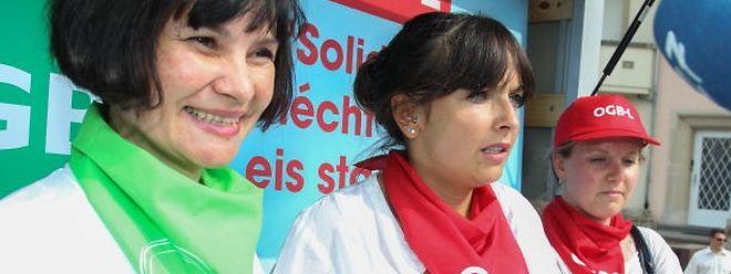 Die Gewerkschafterinnen: Céline Conter (LCGB) und Nora Back (OGBL) haben zur Mobilisierung aufgerufen.