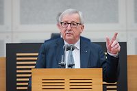 European Commission President Jean-Claude Juncker gives a press conference at the end of his visit to the regional parliament on April 1, 2019 in Saarbruecken, southwestern Germany. (Photo by Oliver Dietze / dpa / AFP) / Germany OUT