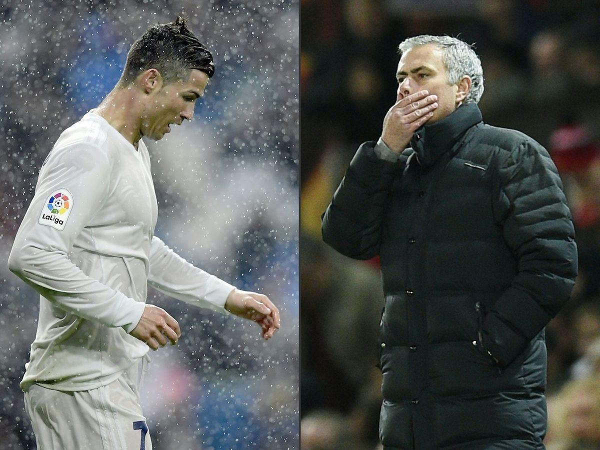 Cristiano Ronaldo (l.) und José Mourinho.