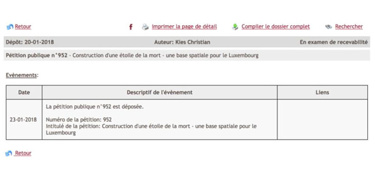 The petition for a Death Star on Chambre de Députés website has since been removed