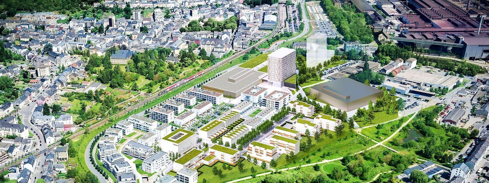 """Die beiden Hochhäuser entstehen auf dem Gelände des """"Plateau du funiculaire"""", am Differdinger Stadteingang Richtung Fousbann."""