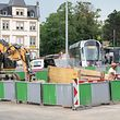 Lok , Chantier Tram Staereplatz , Place Etoile Foto: Guy Jallay/Luxemburger Wort