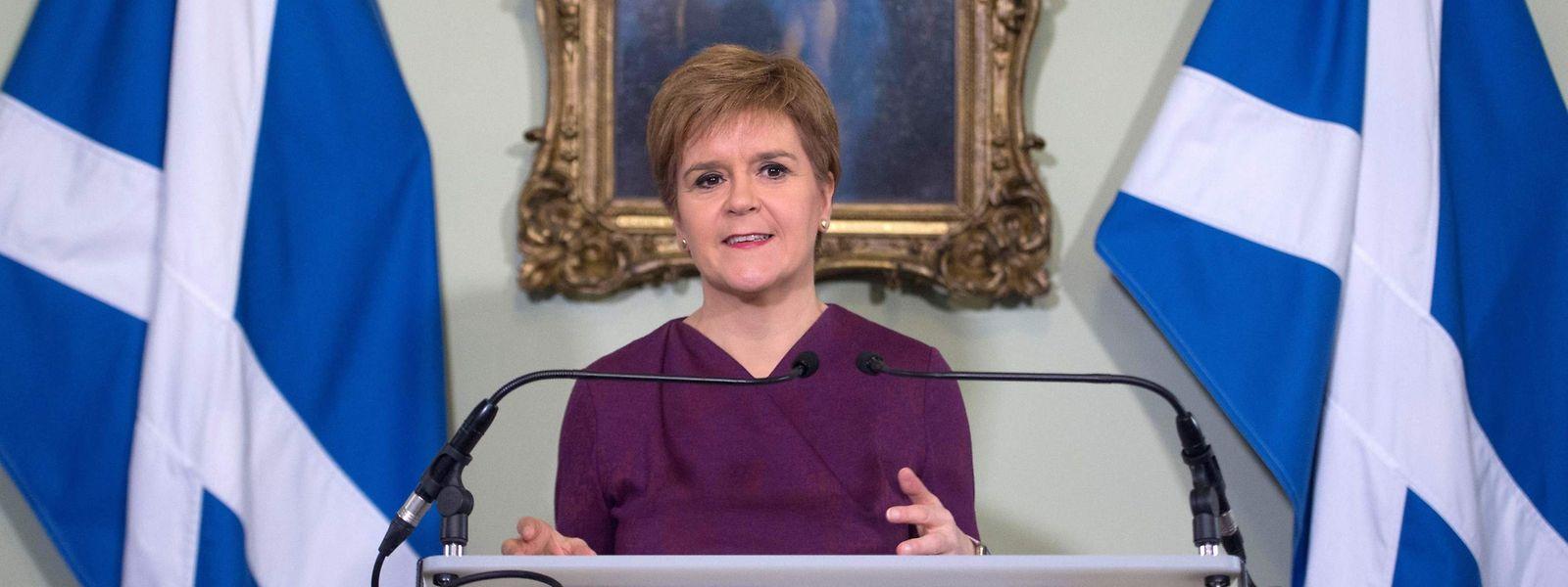 Die schottische Regierungschefin Nicola Sturgeon am Donnerstag im Bute House in Edinburgh.