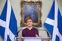 Scottish National Party (SNP) leader and Scotland's First Minister Nicola Sturgeon sets out the case for a second referendum on Scottish independence, during a statement at Bute House in Edinburgh on December 19, 2019. (Photo by NEIL HANNA / various sources / AFP)