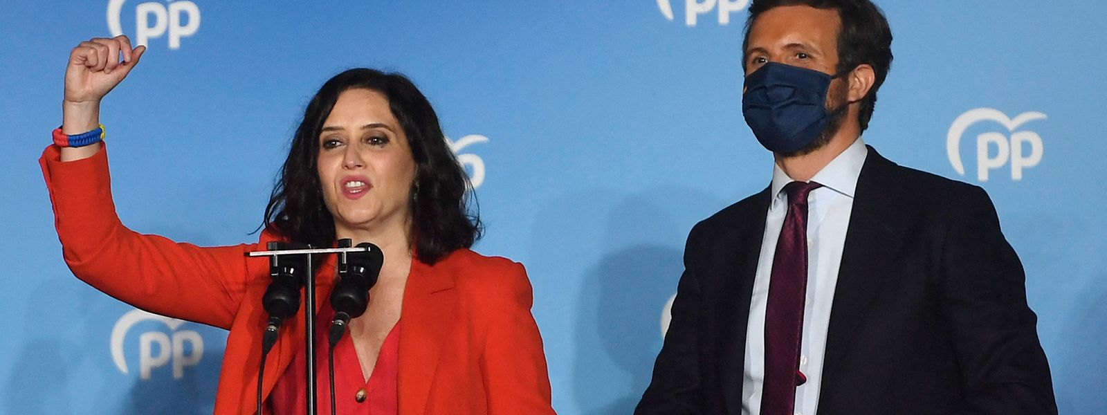Spitzenkandidatin Isabel Diaz Ayuso und PP-Chef Pablo Casado hatten am Dienstag Grund zur Freude.