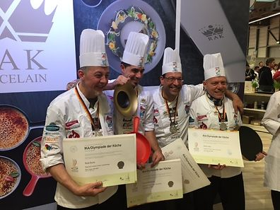 Luxembourg chefs (left to right): René Kertz (Hotel-Restaurant Treeland in Pétange), Laurent Baudouin (Arcus / House Relais in Mamer), Jean-Claude Brill ( Luxembourg Association of Alzheimer in Erpeldange), Jerry Herkes (Administration communal Schifflange).