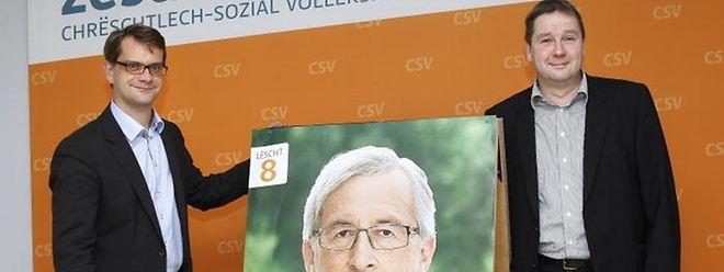 """CSV-Generalsekretär Laurent Zeimet (l.) und Parteipräsident Michel Wolter attestieren dem Premier eine """"ausgeprägte soziale Ader""""."""