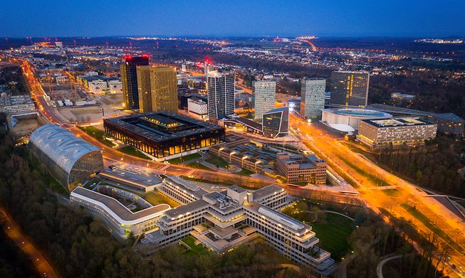 The European Investment Bank is headquartered in the Kirchberg district of Luxembourg City