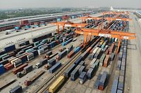 An aerial view of the Qingbaijiang Railway Port where freight trains travel between China and Europe during the 'One Belt, One Road' initiative in Chengdu city, southwest China's Sichuan province, 30 April 2019.