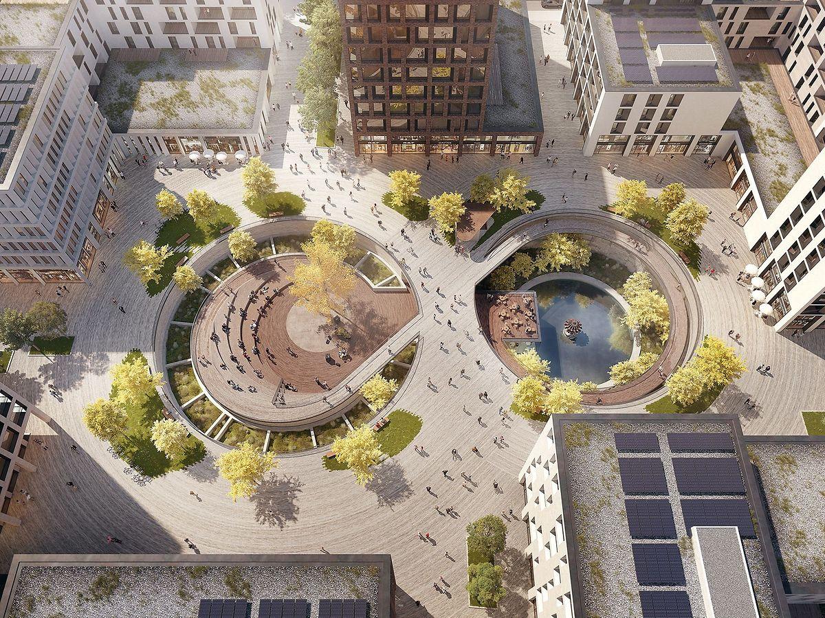 Die zwei Sinterbecken im Herzstück des Square Mile-Viertels werden zu einem Begegnungsort umgestaltet.