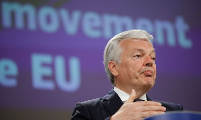Commissioner for Justice Didier Reynders addresses the Schengen rules at a press conference on Monday