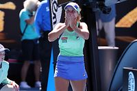 Sofia Kenin of the US celebrates after victory against Australia's Ashleigh Barty during their women's singles semi-final match on day eleven of the Australian Open tennis tournament in Melbourne on January 30, 2020. (Photo by DAVID GRAY / AFP) / IMAGE RESTRICTED TO EDITORIAL USE - STRICTLY NO COMMERCIAL USE