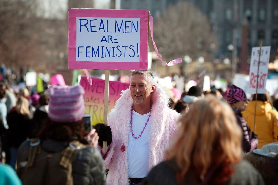 Demonstrators gather at Civic Center Park in Denver, Colorado, during the Women's March on January 21, 2017.