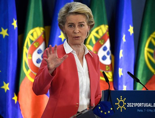 European Commission President Ursula von der Leyen gives a joint press conference with the President of the European Council within the framework of the Social Summit hosted by the Portuguese presidency of the Council of the European Union, at the Palacio de Cristal in Porto on May 8, 2021.