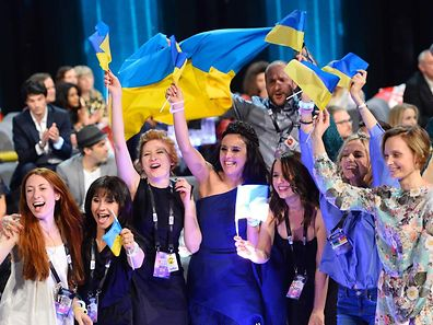 "Jamala representing Ukraine with the song ""1944"" reacts after winning the final of the Eurovision Song Contest 2016 Grand Final in Stockholm, on May 14."