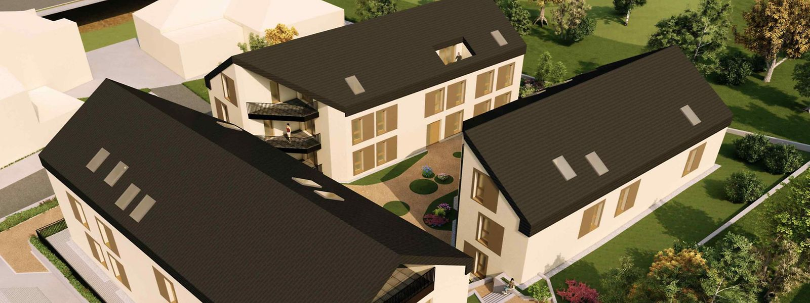 Der geplante Wohnkomplex mit einem Innenhof und Balkonen soll Wohnungen zu erschwinglichen Preisen beherbergen.