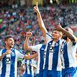 Jogadores do FC Porto festejam a vitória em Braga.