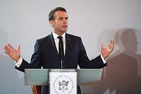 French President Emmanuel Macron speaks during a press conference at the Presidential Palace in Abidjan on December 21, 2019, during a three day visit to West Africa. (Photo by Ludovic MARIN / AFP)