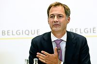 Belgium's Prime Minister Alexander De Croo speaks during a press conference after a meeting with the health consultative committee on the Covid-19 pandemic, in Brussels, on August 20, 2021. (Photo by Didier LEBRUN / BELGA / AFP) / Belgium OUT