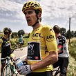 (FILES) In this file photo taken on July 24, 2018 Great Britain's Geraint Thomas (R), wearing the overall leader's yellow jersey, looks on after cleaning his stinging eyes, after tear gas was used during a farmers' protest who attempted to block the stage's route, during the 16th stage of the 105th edition of the Tour de France cycling race, between Carcassonne and Bagneres-de-Luchon, southwestern France; - Geraint Thomas of team Ineos fell heavily today on June 18, 2019 during the Tour de Suisse (Tour of Switzerland) cycling race near Lausanne. Thomas came down heavily in the peloton's high-pace pursuit of an escape, and was still sitting ashen-faced on the tarmac five minutes later with doctors gingerly examining his shoulder. (Photo by Marco BERTORELLO / AFP)