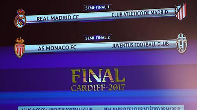 TOPSHOT - The result of the UEFA football Champion's league draw semi-finals is displayed on a screen, on April 21, 2017 in Nyon.  / AFP PHOTO / Richard Juilliart