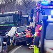 Accident Camion geint Auto, Contern Itzeg, Foto Lex Kleren