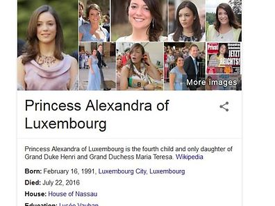 Contrary to the results of a Google search, Luxembourg's Princess Alexandra is not dead