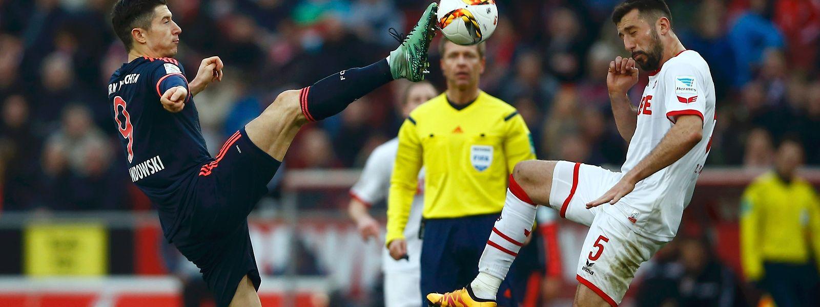 Etwas hoch, das Bein: Robert Lewandowski (l.) und Dominic Maroh vom 1. FC Köln.