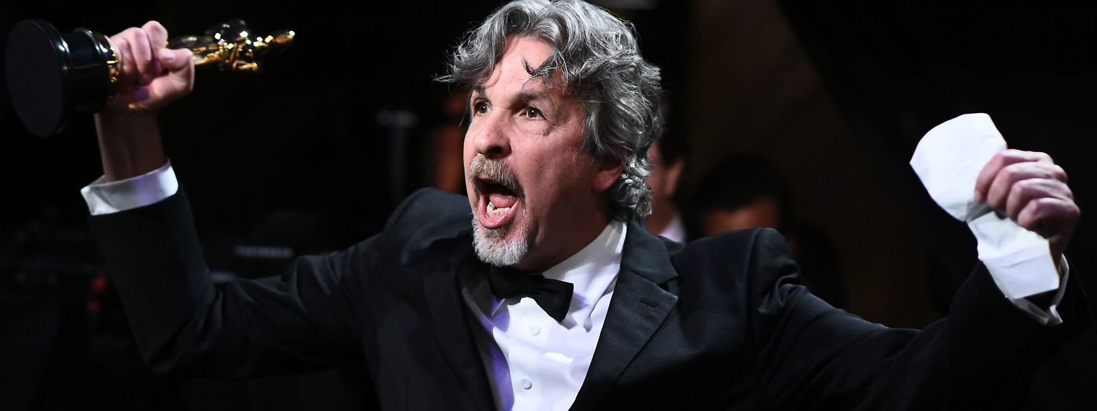 "TOPSHOT - This handout photo released by A.M.P.A.S. shows Director Peter Farrelly, winner of Best Picture and Best Original Screenplay for ""Green Book,"" backstage during the 91st Annual Academy Awards at the Dolby Theatre in Hollywood, California on February 24, 2019. (Photo by Matt Petit / A.M.P.A.S / AFP) / RESTRICTED TO EDITORIAL USE - MANDATORY CREDIT ""AFP PHOTO / A.M.P.A.S  "" - NO MARKETING - NO ADVERTISING CAMPAIGNS - DISTRIBUTED AS A SERVICE TO CLIENTS"