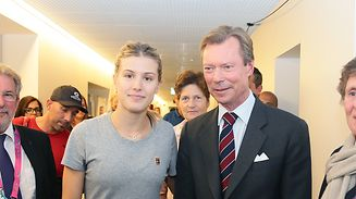 Malou Hartmann (IWTP-Präsidentin, l.), Mars di Bartolomeo (Präsident der Abgeordnetenkammer), Eugenie Bouchard, Großherzog Henri und Danielle Maas (Turnierdirektorin) nahmen sich gerne Zeit für ein Foto.