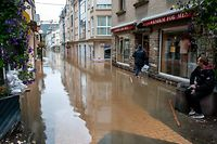 Hochwasser nach Starkregen , Echternach , Fussgängerzone  Foto:Guy Jallay/Luxemburger Wort
