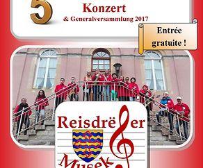 5 -Joer-Jubiläums-Konzert + Generalversammlung 2017:  Reisdrëfer Musek a.s.b.l.