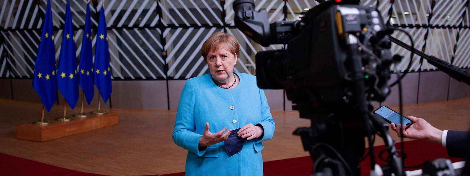 Merkel trat nach den Verhandlungen am Donnerstag vor die Kameras. Sie konnte sich mit ihren Vorschlägen nicht durchsetzen.