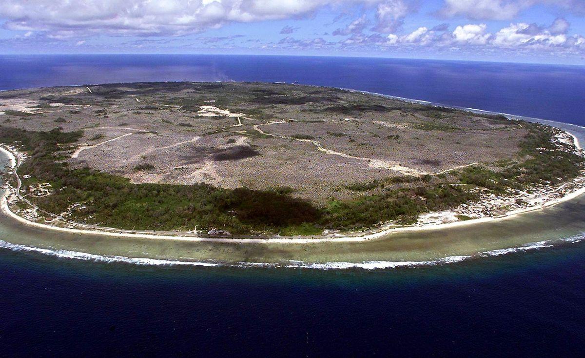 Die Insel Nauru im Pazifik.